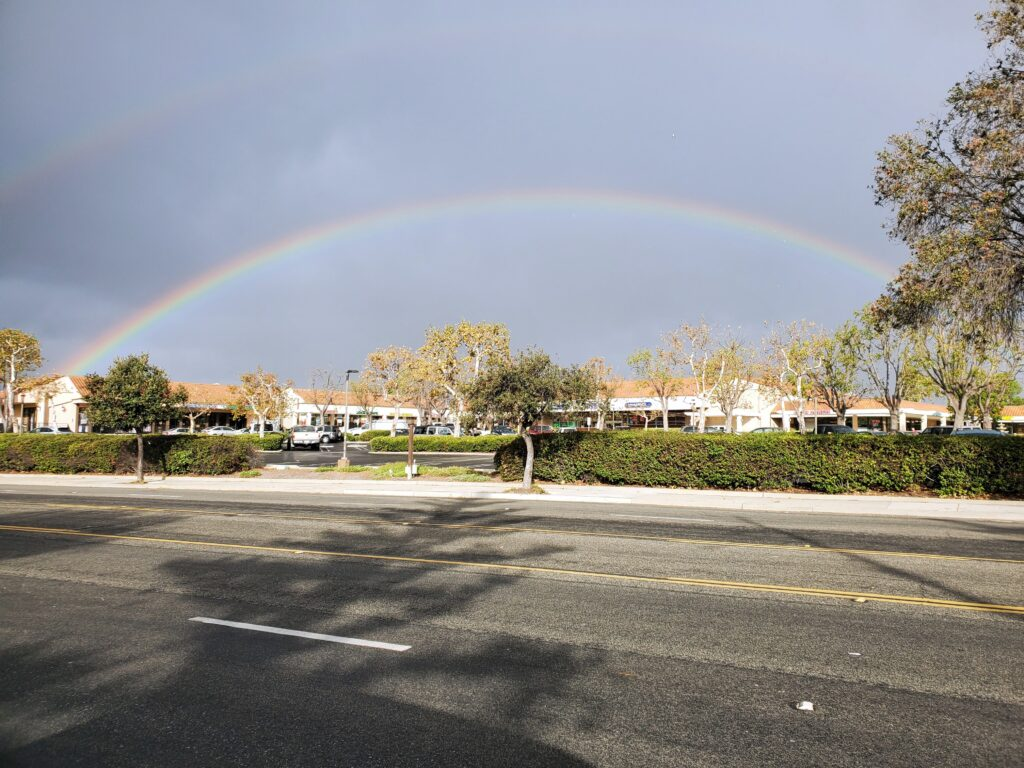 A rainbow over the Brucar shopping mall