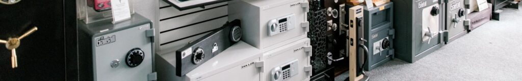 Variety of safes in the Brucar store